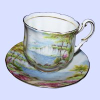 A Pretty Vintage Double Paragon The Cliffs of Dover Teacup and Saucer Set
