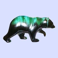 Beautiful Mid-Century Blue Mountain Pottery BMP Walking  Bear Figurine Green Black Glaze