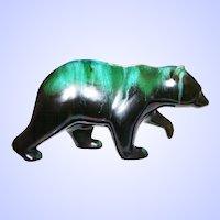 Beautiful Mid-Century Blue Mountain Pottery BMP Walking  Bear Figurine Green Black Glaze