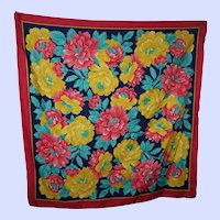 Cheerful Bright and Colorful Gently Used Flower Power Ladies Fashion Scarf