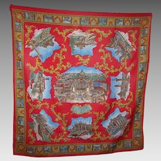 A Vintage Scenic Attractions Views of Roma Travel Souvenir Scarf