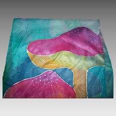 Lovely Delicate Long Rectangular Hand Painted Silk Scarf Mushroom Theme
