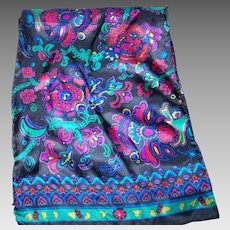 A Lovely Delicate Silk Long rectangular Scarf Flower Floral Paisley Style Pattern