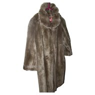 A Wonderful Vintage Long Style Faux Fur Women's Fashion Coat Made in The USA