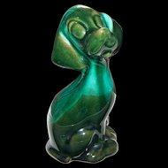 Sweet Mid-Centry Evangeline Pottery Green Glaze Bashful Puppy Dog Pottery Figurine