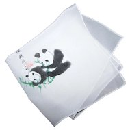 Sweet Little Pure Silk Hand Painted Handkerchief Asian Characters & Panda Bears