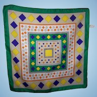Cheerful and Colorful Geometric Op ART Small Scarf Made in Italy