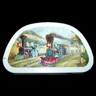 Vintage Collectable Edward Sharp & Sons Ltd. '' Trains '' Tin Litho Advertising Covered Container