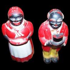 A Wonderful Vintage Set of Aunt Jemima and Uncle Mose  Character Figural Salt and Pepper Shakers