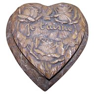 Vintage Novelty Syroco Wood Style Molded Heart Container Je Taime For The One You Love