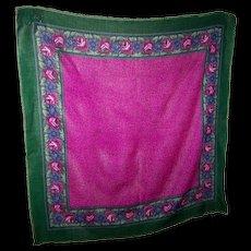 Lovely Vintage Glentex Small Wrap Shawl Fringes Floral Themed