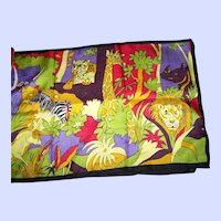 A Fun Colorful Bright  Cheerful Silk Print Jungle Animals Themed Scarf Unbranded Wearable ART