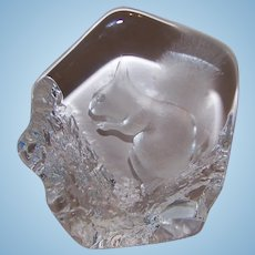 Swedish Etched Crystal Paperweight Woodland Squirrel MATS JONASSON Signed