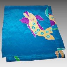 A Beautiful Long Rectangular Blue Silk Scarf with Fish Theme Wearable ART