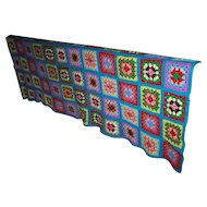 Bright  Colorful Cheerful Hand Crochet Vintage Granny Square Cover Blanket Home Decor Accent