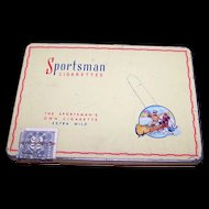 Vintage Collectible Advertising  Metal Tin Box SPORTSMAN  Flat 50 Cigarettes CARRERA'S LTD Canada