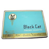Vintage Collectible Empty Advertising Tin Litho Box Case Black Cat Cigarettes CANADA