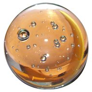 Lovely  Vintage Collectible  Clear Controlled Bubble Glass Paper Weight