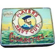 Vintage Tin Litho Advertising Box for Player's Navy Cut Cigarettes