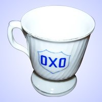 Early 20th Century Oxo Porcelain Advertising Mug Blue Gold Decoration AS IS