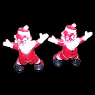 2 Sweet Mid-Century Plastic Santa Claus Candy Containers Wonderful for Display