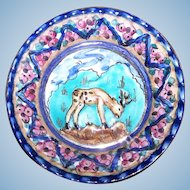 Decorative Small Hand Painted Ceramic Wall Art Plaque Edam  Antiqua Holland  Reindeer Flower