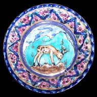 Decorative Small Hand Painted Ceramic Wall Art Plaque Edam  Antiqua Holland  Reindeer Flower