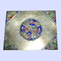 Decorative Vintage  Chinese Enamel  Cigarette / Card  Box Asian BRASS  Hinged CHINA