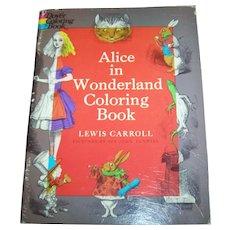 Soft Cover Paper Back  Dover Coloring Book Alice in Wonderland 1972