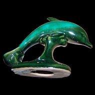 Canuck Pottery  Fait Au Canada Dolphin Porpoise Pottery Figurine Green Glaze