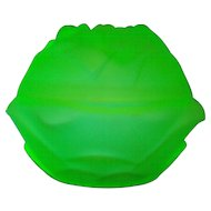 Glow in the Dark under UV Light Rose Floral Themed Satin Green Uranium Glass Covered Dish