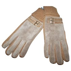 Lovely Vintage Never Worn ARIS Genuine Leather Applique Ladies  Gloves One Size Fits All
