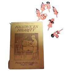 Vintage Paperback Book Booklet Hallowe'en Hilarity Paine Publishing & 6  Cupcake Picks Toppers