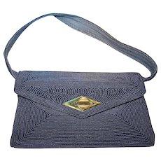 Dressy Black Corde Handbag By Gold Seal Accessories Montreal Canada
