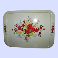 Beautiful Tin Litho Metal  Floral Themed Serving Tray Beautiful Vintage Home Decor Accent