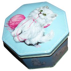 Pretty Tin Litho Made in England Hinged Tin Kitty Cat Sewing Theme