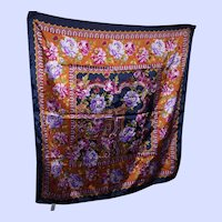 Lovely Large Polyester Ladies Fashion Scarf Made in Italy Decorative Flower Theme