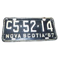 Vintage Souvenir  Tin Metal Nova Scotia Canada License Plate 1967