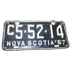 Vintage Souvenir  Tin Metal Nova Scotia Canada License Plate 1967