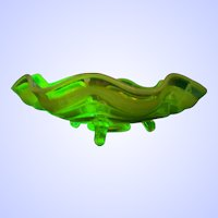 Yellow Vaseline Glass Footed Bowl with Opalescent Ruffled Edge Glows Under Black UV Light