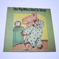 Sweet Old paperback Children's Illustrated Book Booklet THe Pig Who Liked to Sleep