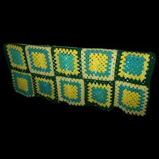 Sweet Small Hand Crafted Granny Square Crochet Throw Blanket Table Topper Coverlet