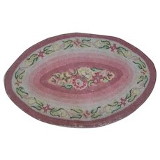 Beautiful Small Oval Hand Hooked Rug Home Decor Accent Floral Theme