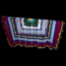 Lovely Vintage Hand Crochet Small Blanket Coverlet Cheerful and Colorful