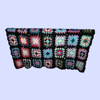 Colorful Vintage Hand Crochet Granny Square Blanket  A FUN Home Decor Accent