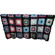 Colorful Vintage Hand Crochet Granny Square Blanket  A FUN Home Decor Accent