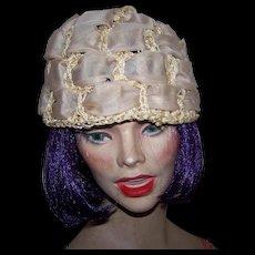 Charming Vintage Chiffon Ribbon Crochet Cord Ladies Fashion Bucket Hat
