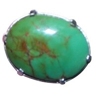 A Lovely Little Prong Set  Green Turquoise Stone Brooch / Pin with Original Clasp