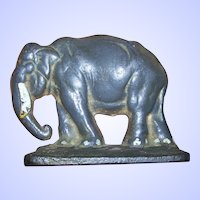 A Wonderful Old  Cast Iron Door Stop Single Bookend Figural Elephant Ellie