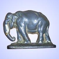 A Wonderful Old  Cast Iron Door Stop Single Bookend Figural Elephant Ellie